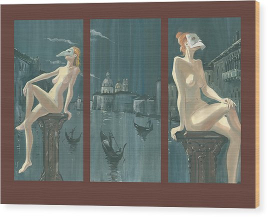 Night In Venice. Triptych Wood Print
