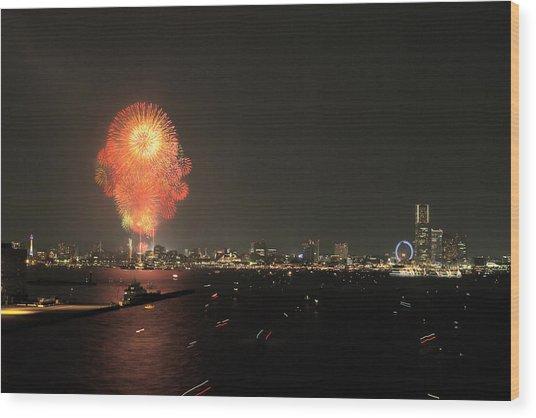 Night In Yokohama T6j013 Wood Print by Yoshiki Nakamura
