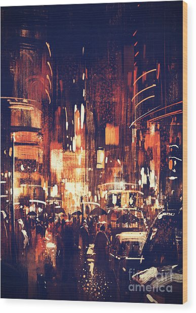 Wood Print featuring the painting Night Life by Tithi Luadthong