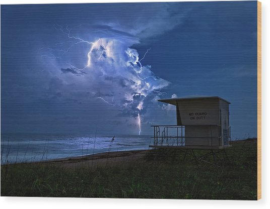 Night Lightning Under Full Moon Over Hobe Sound Beach, Florida Wood Print