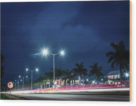 Night Lights In Montego Bay City Wood Print