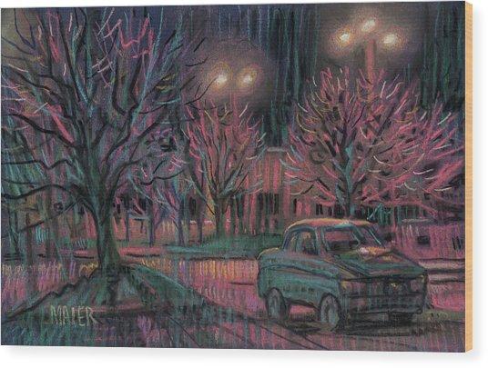 Night Lot Wood Print
