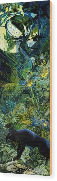 Night Of The Panther Wood Print by Anne Weirich