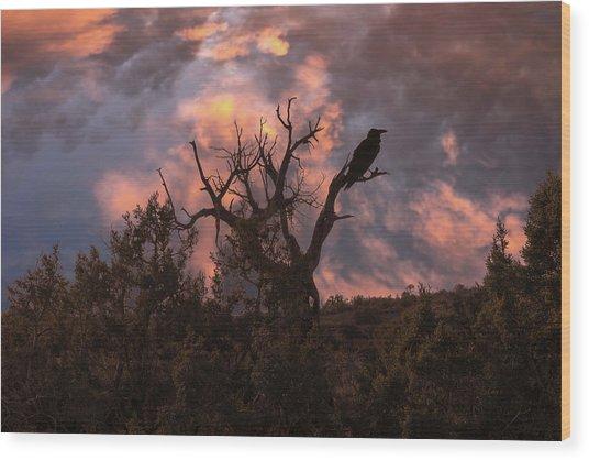 Night Of The Raven Wood Print