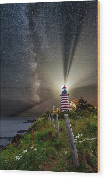 Night Over West Quoddy Wood Print