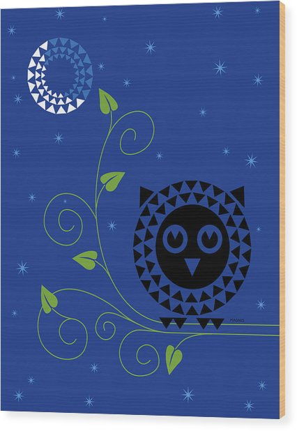 Night Owl Wood Print by Ron Magnes