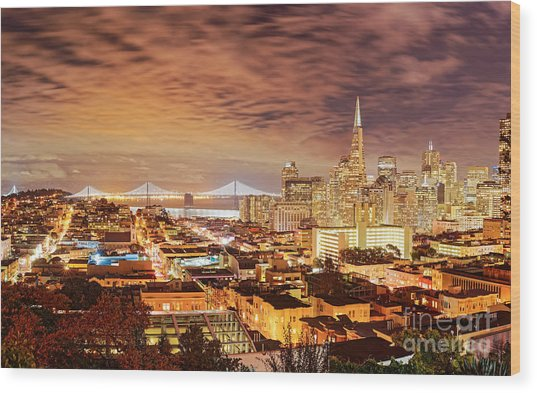 Night Panorama Of San Francisco And Oak Area Bridge From Ina Coolbrith Park - California Wood Print