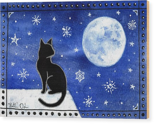 Night Patrol At Wintertime Wood Print