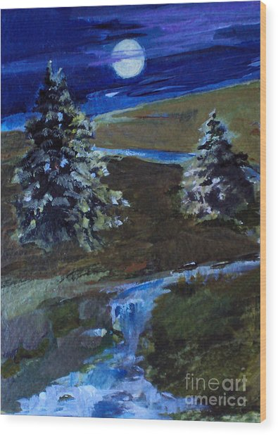 Night Pines Wood Print