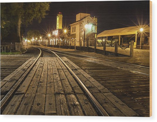 Night Rails Wood Print