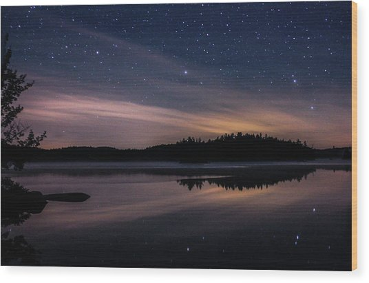 Night Reflections On Pharaoh Lake Wood Print