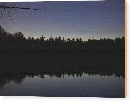 Night Reflects On The Pond Wood Print