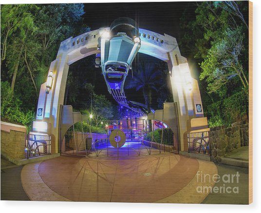 Night Ride On The Rock And Roll Coaster Wood Print