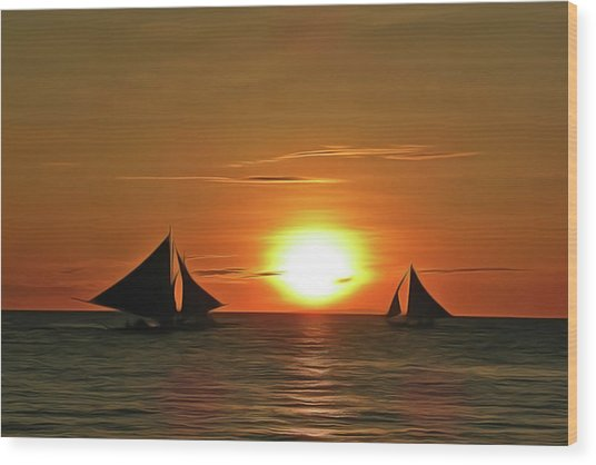 Night Sail Wood Print