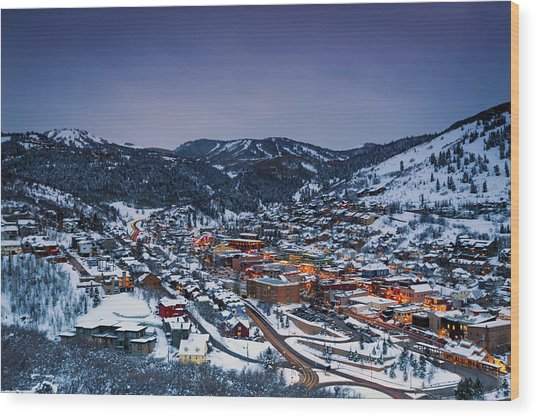 Night Scene In Park City. Wood Print