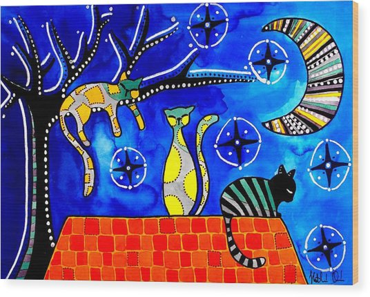 Night Shift - Cat Art By Dora Hathazi Mendes Wood Print