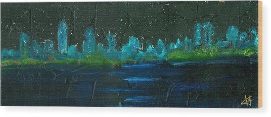 Night Shore Wood Print by Jorge Delara
