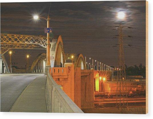 Night Shot Of The Los Angeles 6th Street Bridge And Supermoon #1 Wood Print