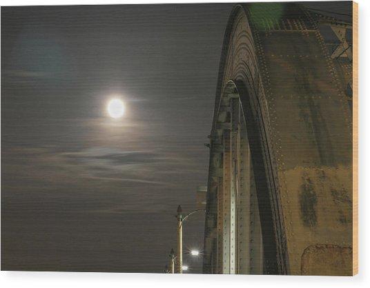 Night Shot Of The Los Angeles 6th Street Bridge And Supermoon #2 Wood Print