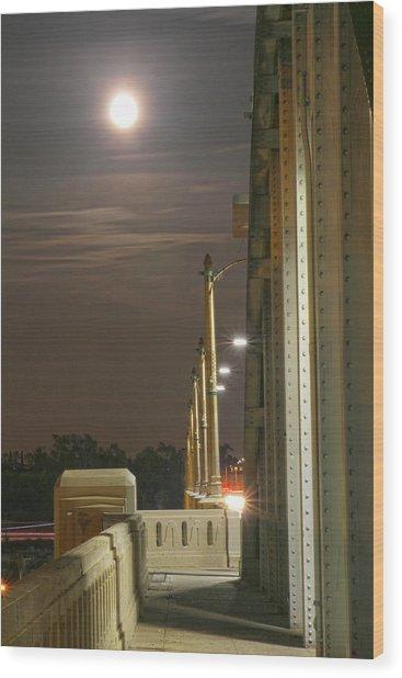 Night Shot Of The Los Angeles 6th Street Bridge And Supermoon #3 Wood Print