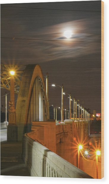 Night Shot Of The Los Angeles 6th Street Bridge And Supermoon #4 Wood Print