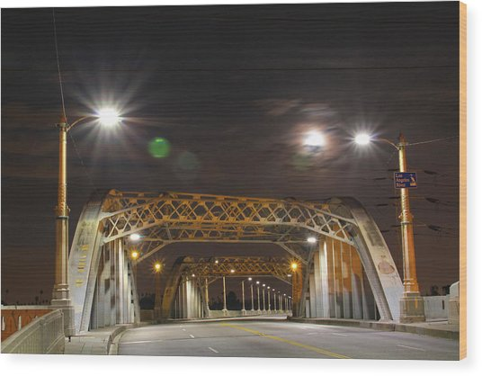 Night Shot Of The Los Angeles 6th Street Bridge And Supermoon #5 Wood Print