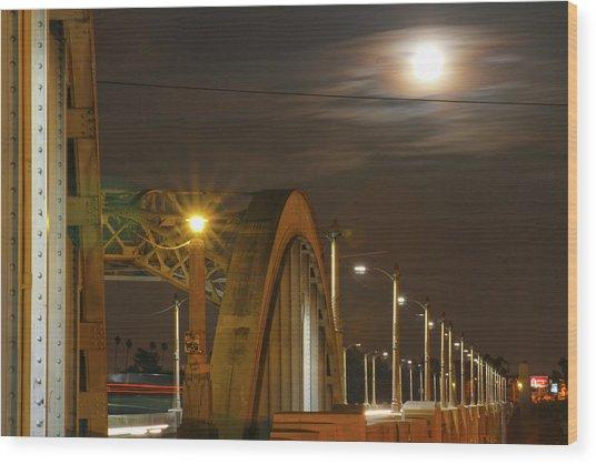 Night Shot Of The Los Angeles 6th Street Bridge And Supermoon #7 Wood Print