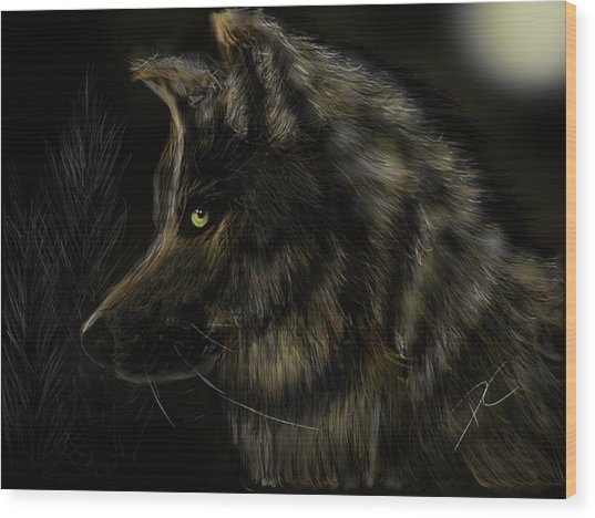Wood Print featuring the digital art Night Silent Wolf by Darren Cannell