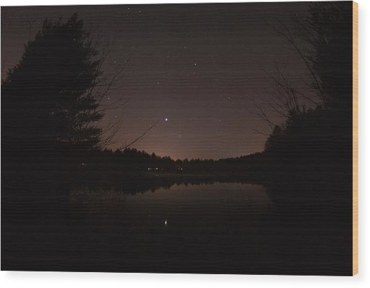 Night Sky Over The Pond Wood Print