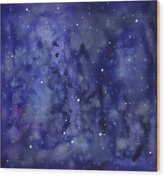 Night Sky Watercolor Galaxy Stars Wood Print
