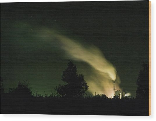 Night Steaming Wood Print