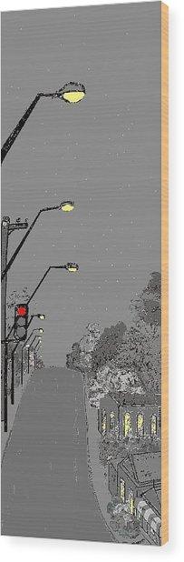 Night Streetscape Wood Print by Bethwyn Mills