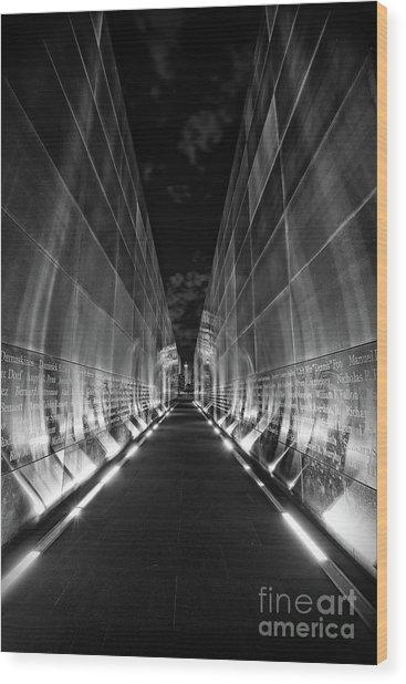 Night Time At Empty Sky Memorial Wood Print