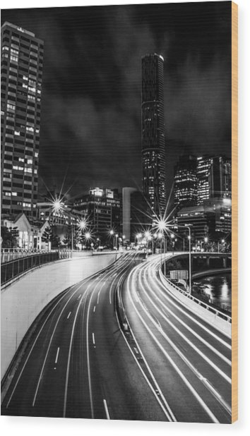 Night Time In The City  Wood Print