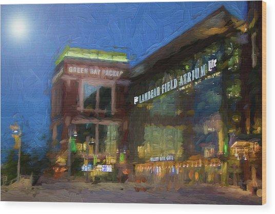 Night Time Lambeau Wood Print