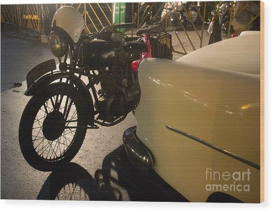 Night Time Silhouette Of Vintage Motorcycle Near Tail Of 50's St Wood Print