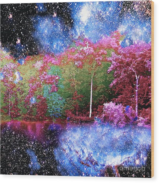 Night Trees Starry Lake Wood Print
