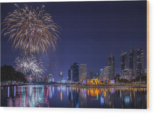 Night View And Firework At Bangkok Wood Print