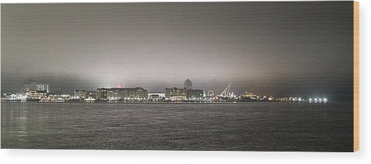 Night View Ocean City Downtown Skyline Wood Print