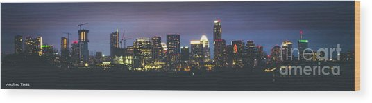 Night View Of Downtown Skyline In Winter Wood Print