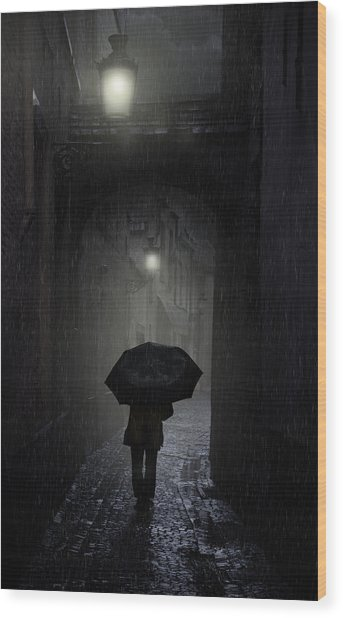 Night Walk In The Rain Wood Print