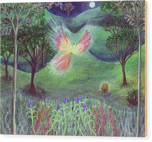 Night With Fire Bird And Sacred Bush Wood Print