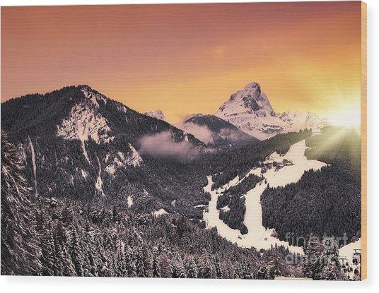 Nightfall Wood Print by Alessandro Giorgi Art Photography
