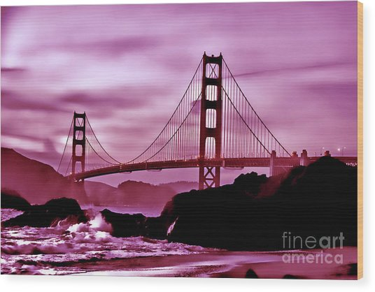 Nightfall At The Golden Gate Wood Print