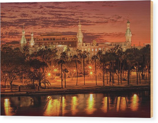 Nightfall In Tampa Wood Print