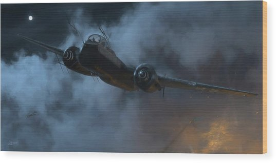 Nightfighter - Painterly Wood Print by Robert Perry