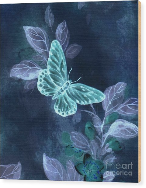 Nightglow Butterfly Wood Print