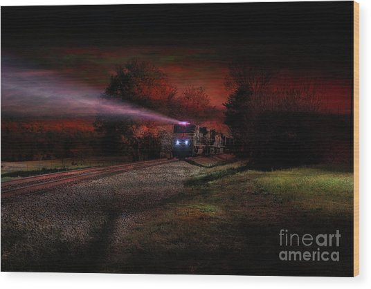 Nightime Steel Wood Print