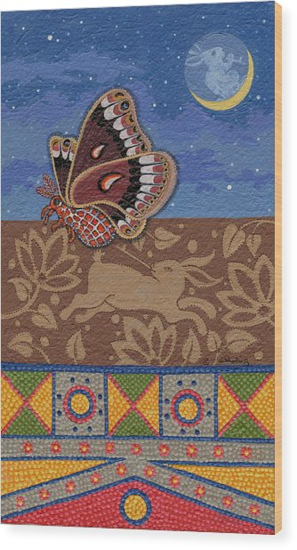 Wood Print featuring the painting Nightime - Tipiskaw, Cree by Chholing Taha