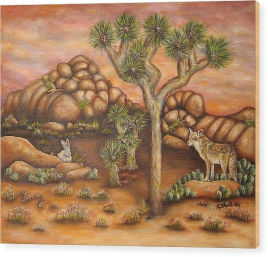 Nightlife In Joshua Tree Wood Print by Kathy Shute